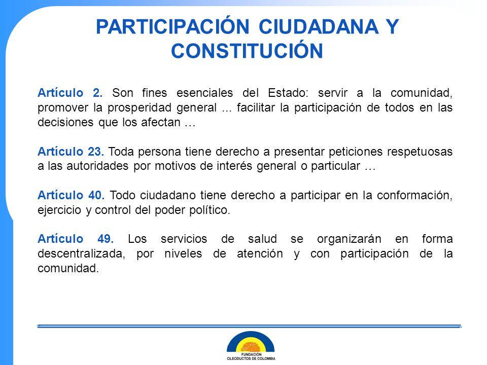 PARTICIPACIÓN CIUDADANA Y CONSTITUCIÓN Artículo 2. Son fines esenciales del Estado: servir a la comunidad, promover la prosperidad general... facilita