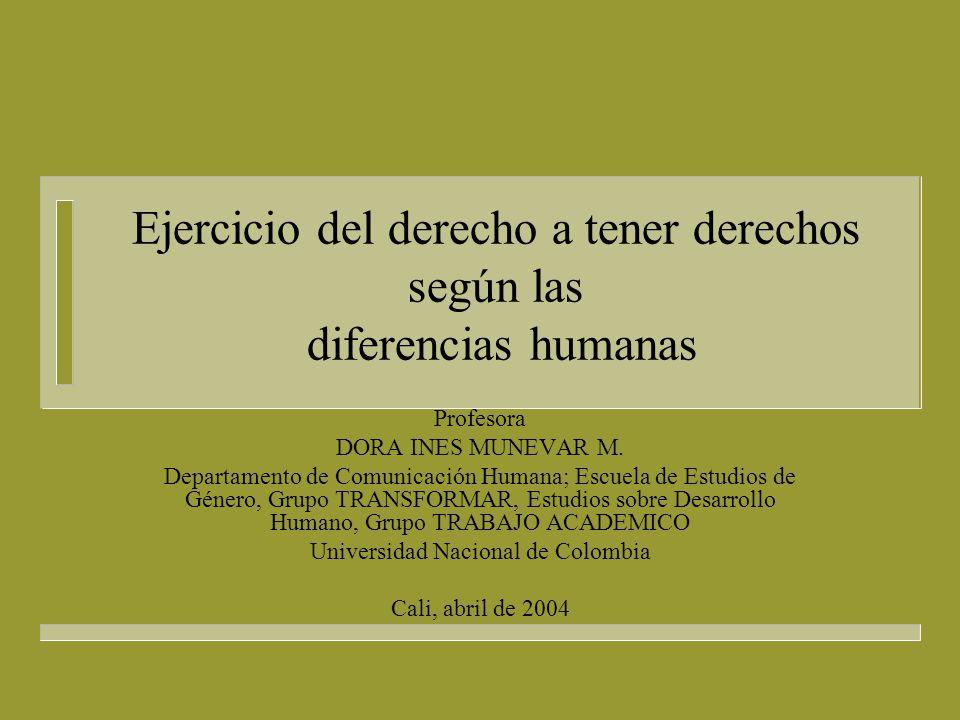 Ejercicio del derecho a tener derechos según las diferencias humanas, 2004 n El derecho a la paz.
