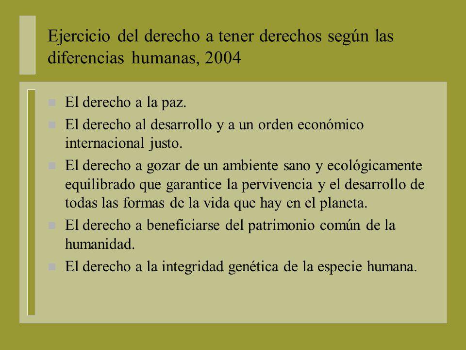 Ejercicio del derecho a tener derechos según las diferencias humanas, 2004 n El derecho al trabajo en condiciones dignas y a Ia libre elección laboral.