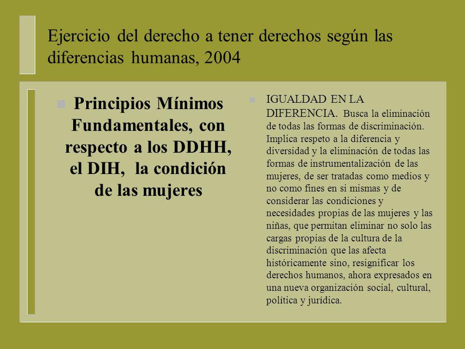 Ejercicio del derecho a tener derechos según las diferencias humanas, 2004 n Principios Mínimos Fundamentales, con respecto a los DDHH, el DIH, la condición de las mujeres n UNIVERSALIDAD DESDE LA ESPECIFICIDAD.