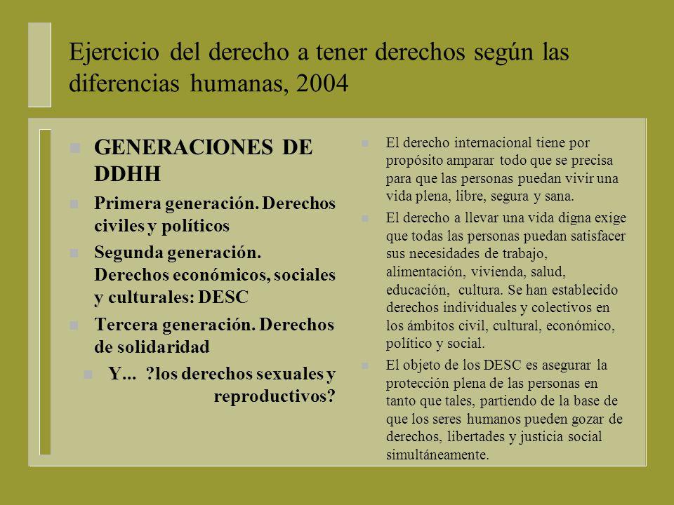 Ejercicio del derecho a tener derechos según las diferencias humanas, 2004 nGnGENERACIONES DE DDHH nPnPrimera generación.
