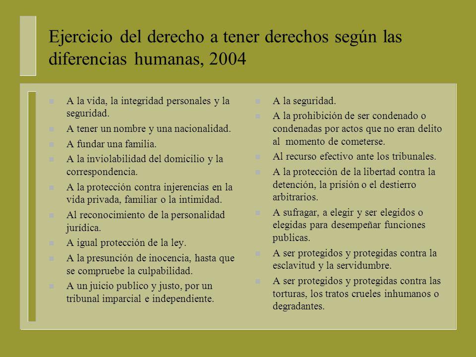 Ejercicio del derecho a tener derechos según las diferencias humanas, 2004 n A la vida, la integridad personales y la seguridad.