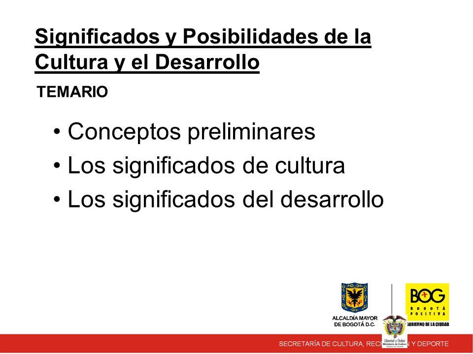 TEMARIO Significados y Posibilidades de la Cultura y el Desarrollo Conceptos preliminares Los significados de cultura Los significados del desarrollo