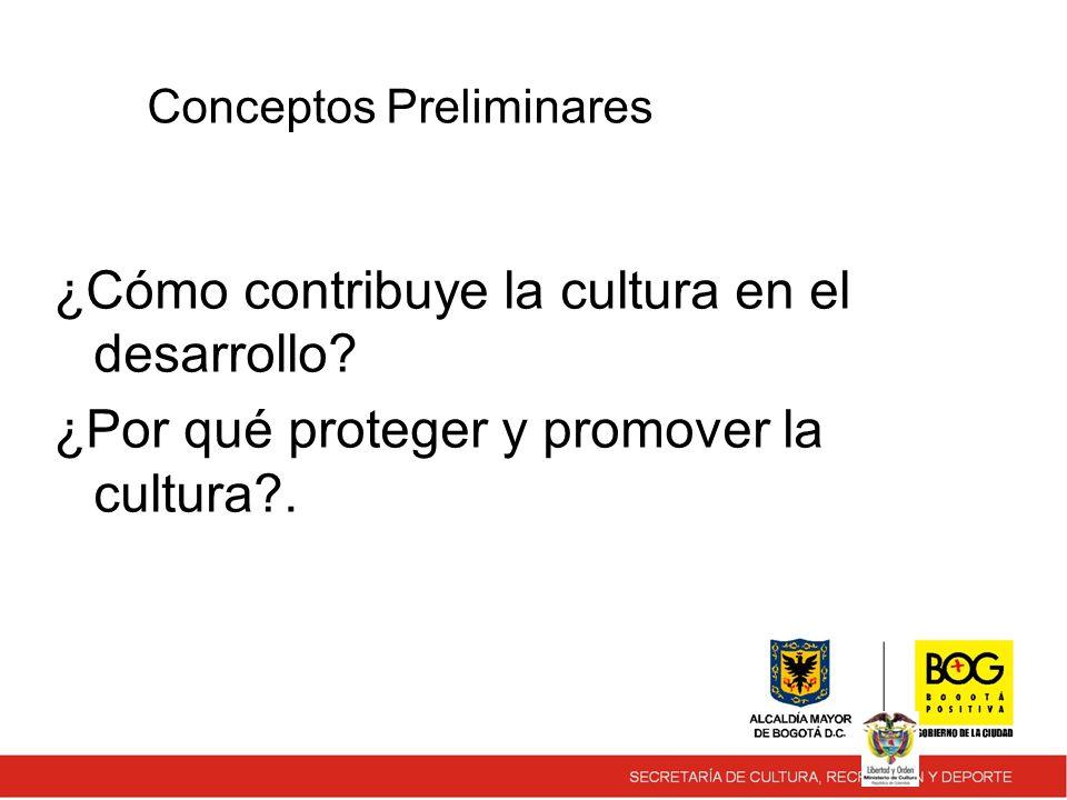 Conceptos Preliminares ¿Cómo contribuye la cultura en el desarrollo.