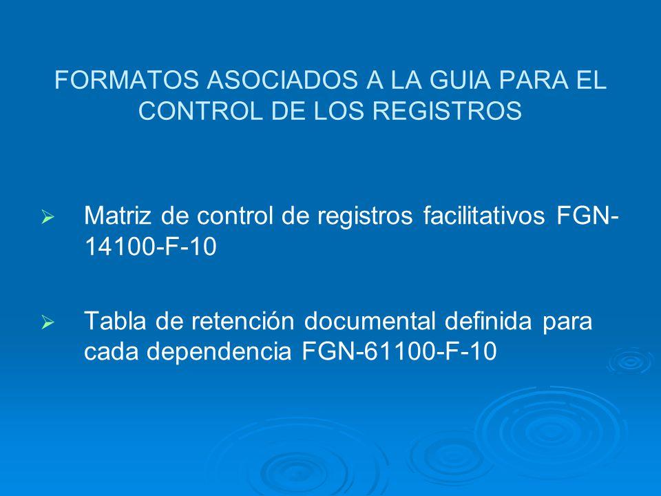 GUIA PARA EL CONTROL DE LOS REGISTROS Establece tres tipos de registros: Establece tres tipos de registros: Registros físicos son los registros sustan