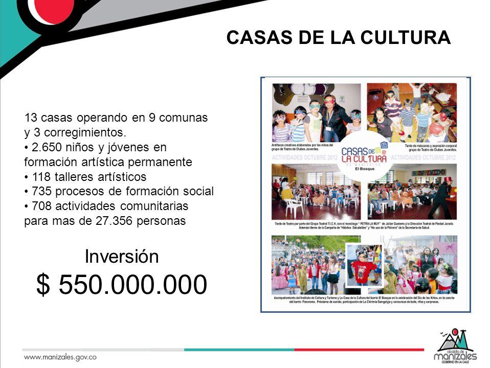 CASAS DE LA CULTURA 13 casas operando en 9 comunas y 3 corregimientos.