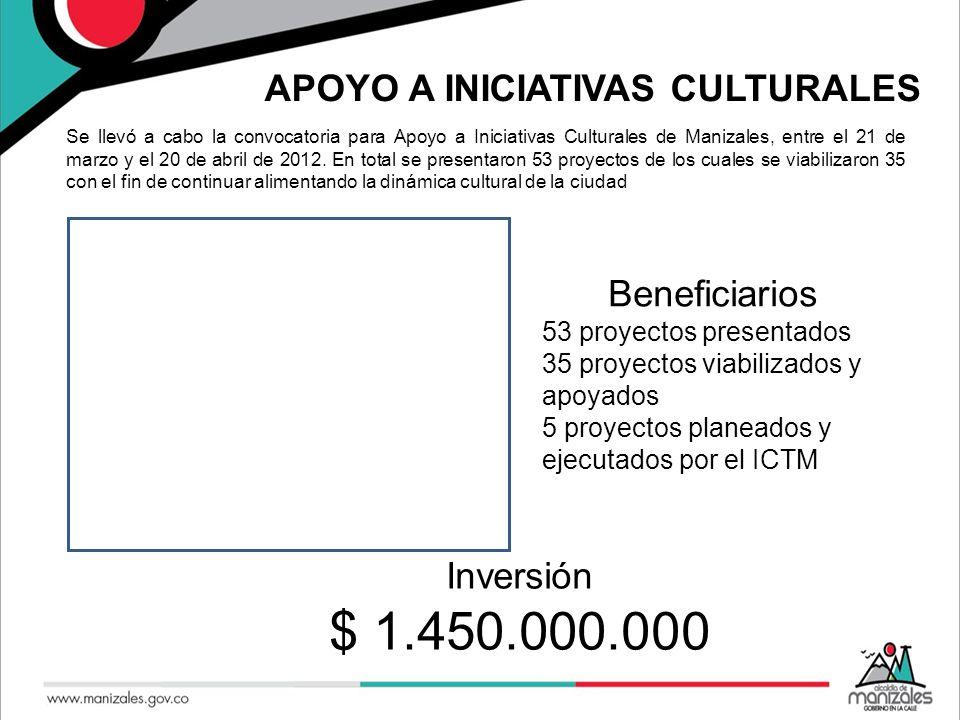 APOYO A INICIATIVAS CULTURALES Se llevó a cabo la convocatoria para Apoyo a Iniciativas Culturales de Manizales, entre el 21 de marzo y el 20 de abril de 2012.