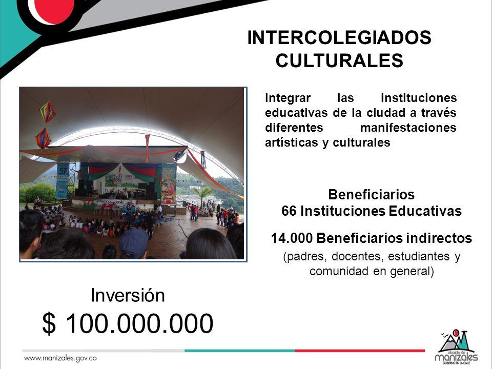 INTERCOLEGIADOS CULTURALES Integrar las instituciones educativas de la ciudad a través diferentes manifestaciones artísticas y culturales Se.