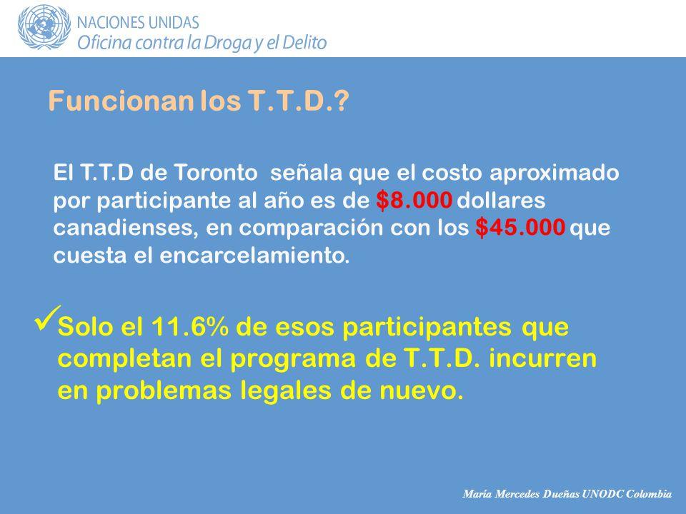 María Mercedes Dueñas UNODC Colombia Funcionan los T.T.D..