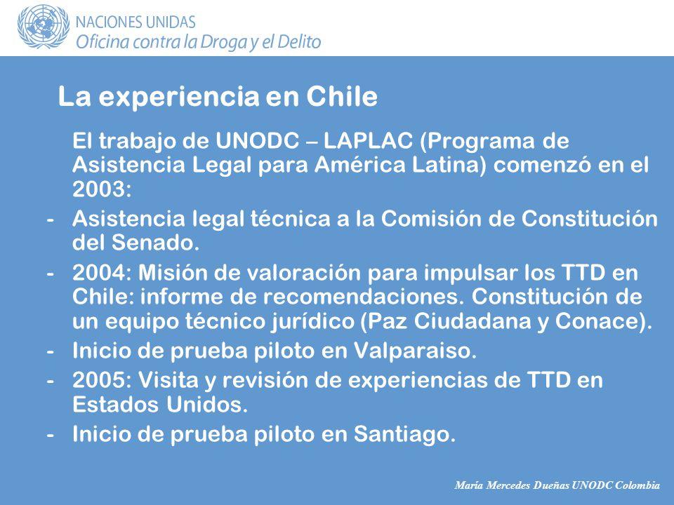 María Mercedes Dueñas UNODC Colombia La experiencia en Chile El trabajo de UNODC – LAPLAC (Programa de Asistencia Legal para América Latina) comenzó en el 2003: -Asistencia legal técnica a la Comisión de Constitución del Senado.