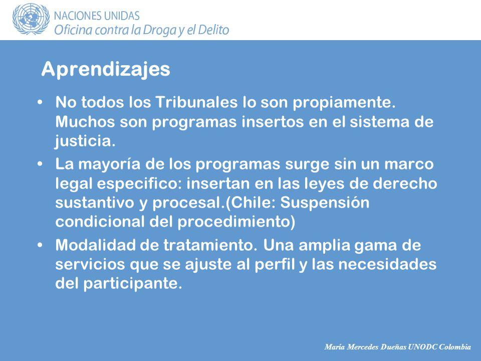 María Mercedes Dueñas UNODC Colombia Aprendizajes No todos los Tribunales lo son propiamente.