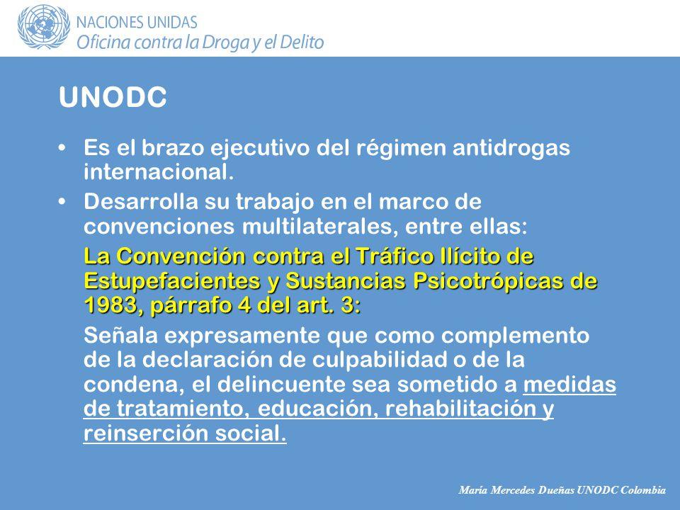 María Mercedes Dueñas UNODC Colombia UNODC Es el brazo ejecutivo del régimen antidrogas internacional.