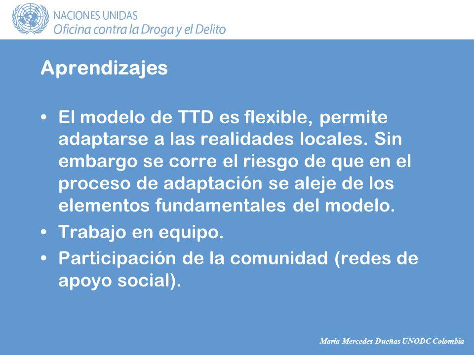 María Mercedes Dueñas UNODC Colombia Aprendizajes El modelo de TTD es flexible, permite adaptarse a las realidades locales.