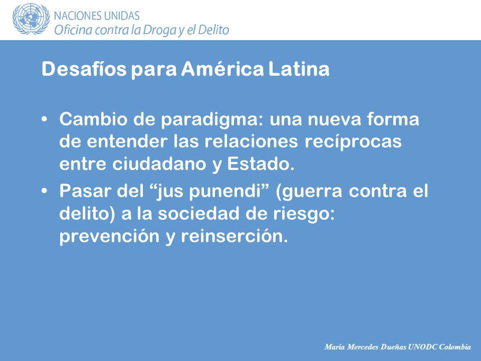 María Mercedes Dueñas UNODC Colombia Desafíos para América Latina Cambio de paradigma: una nueva forma de entender las relaciones recíprocas entre ciudadano y Estado.