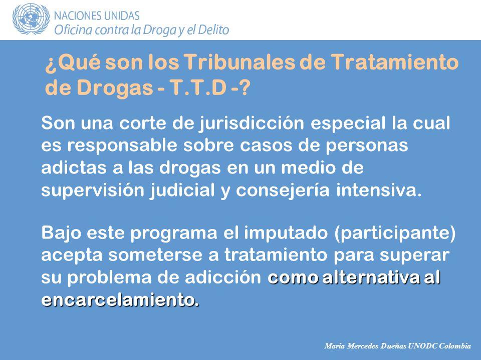 María Mercedes Dueñas UNODC Colombia ¿Qué son los Tribunales de Tratamiento de Drogas - T.T.D -.