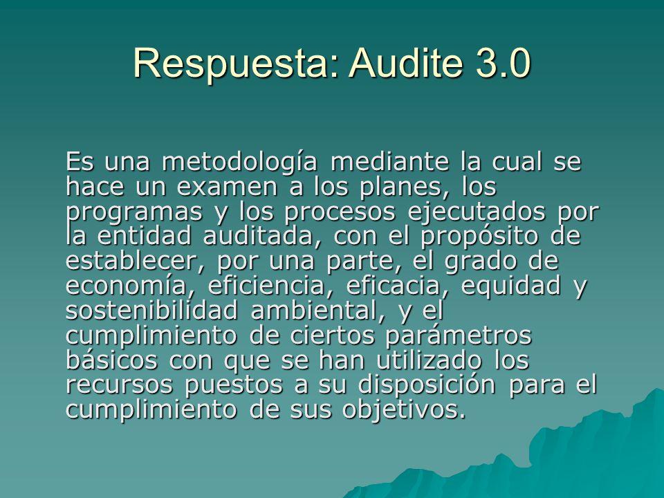 Respuesta: Audite 3.0 Es una metodología mediante la cual se hace un examen a los planes, los programas y los procesos ejecutados por la entidad audit