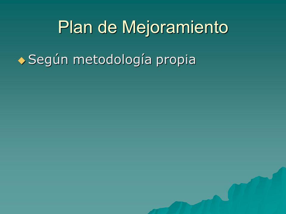 Plan de Mejoramiento Según metodología propia Según metodología propia
