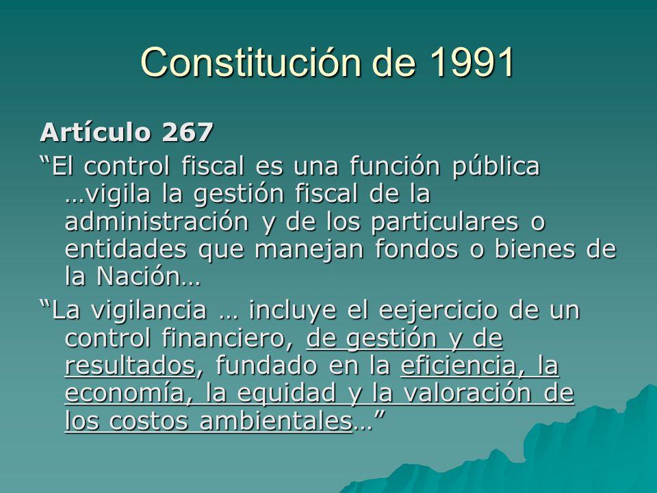 Constitución de 1991 Artículo 267 El control fiscal es una función pública …vigila la gestión fiscal de la administración y de los particulares o enti