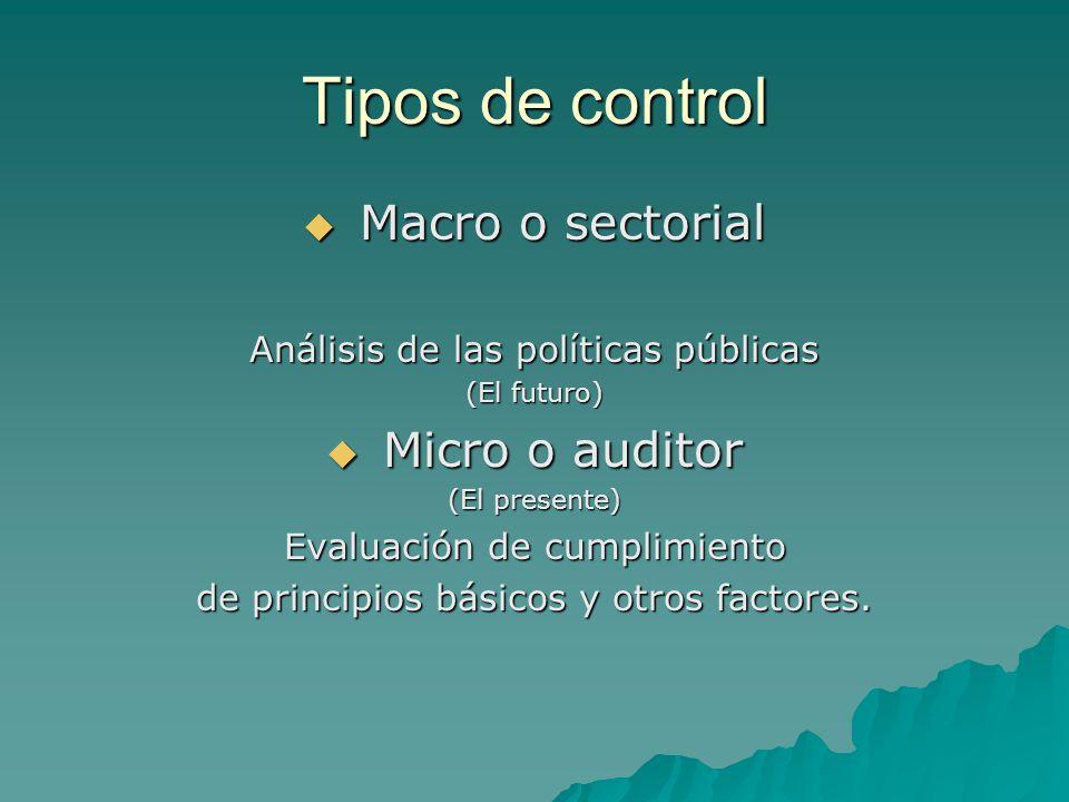 Tipos de control Macro o sectorial Macro o sectorial Análisis de las políticas públicas (El futuro) Micro o auditor Micro o auditor (El presente) Eval
