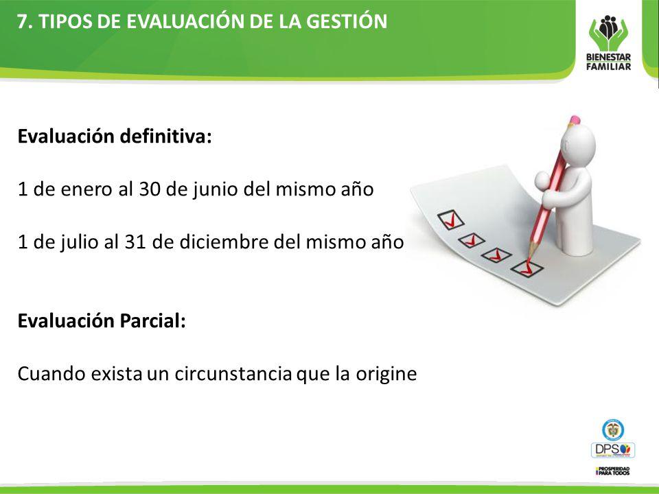 7. TIPOS DE EVALUACIÓN DE LA GESTIÓN Evaluación definitiva: 1 de enero al 30 de junio del mismo año 1 de julio al 31 de diciembre del mismo año Evalua