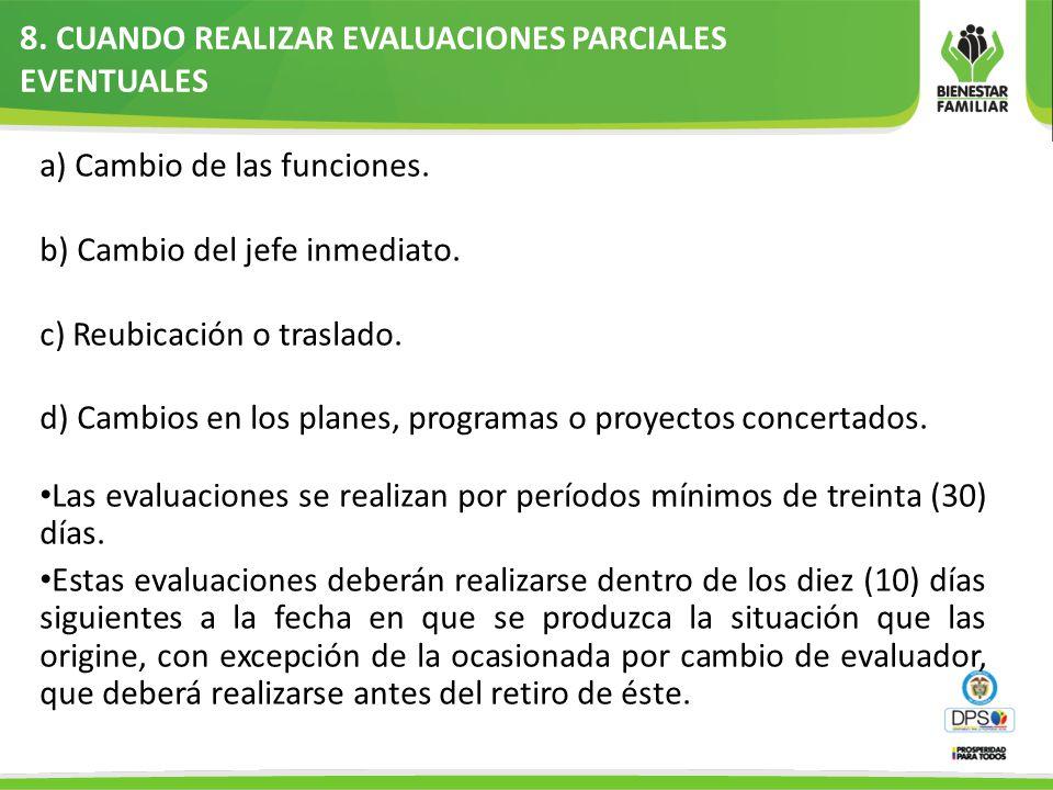 8.CUANDO REALIZAR EVALUACIONES PARCIALES EVENTUALES a) Cambio de las funciones.