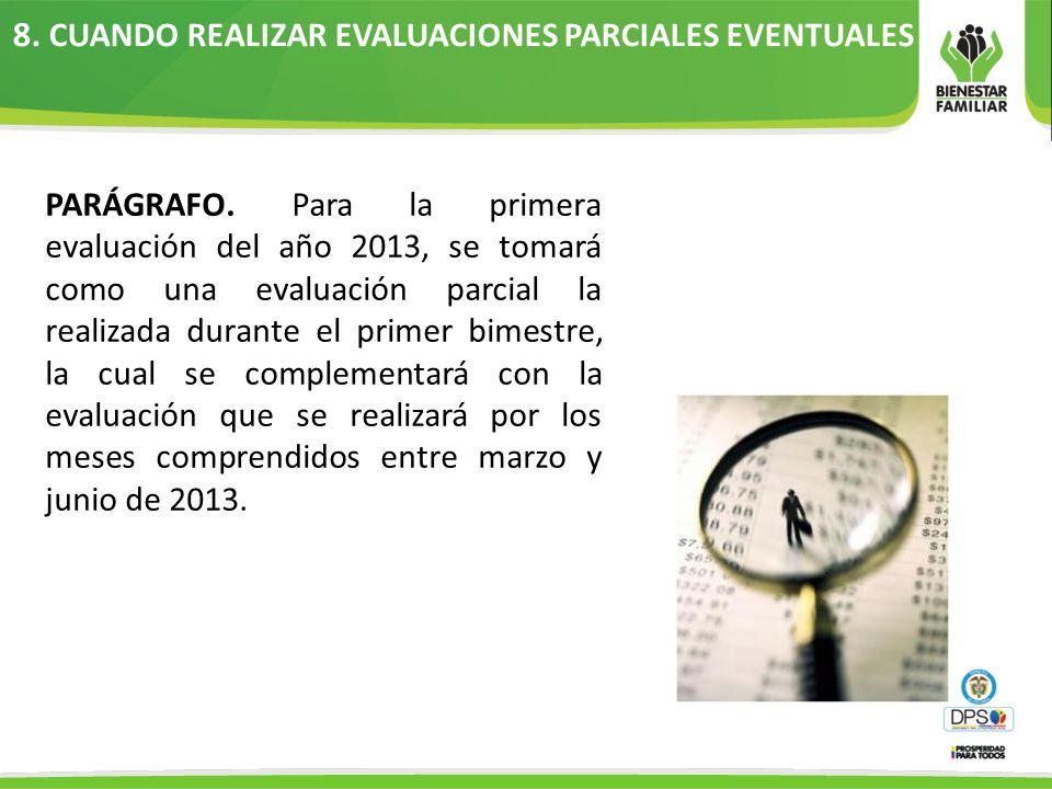 8.CUANDO REALIZAR EVALUACIONES PARCIALES EVENTUALES PARÁGRAFO.