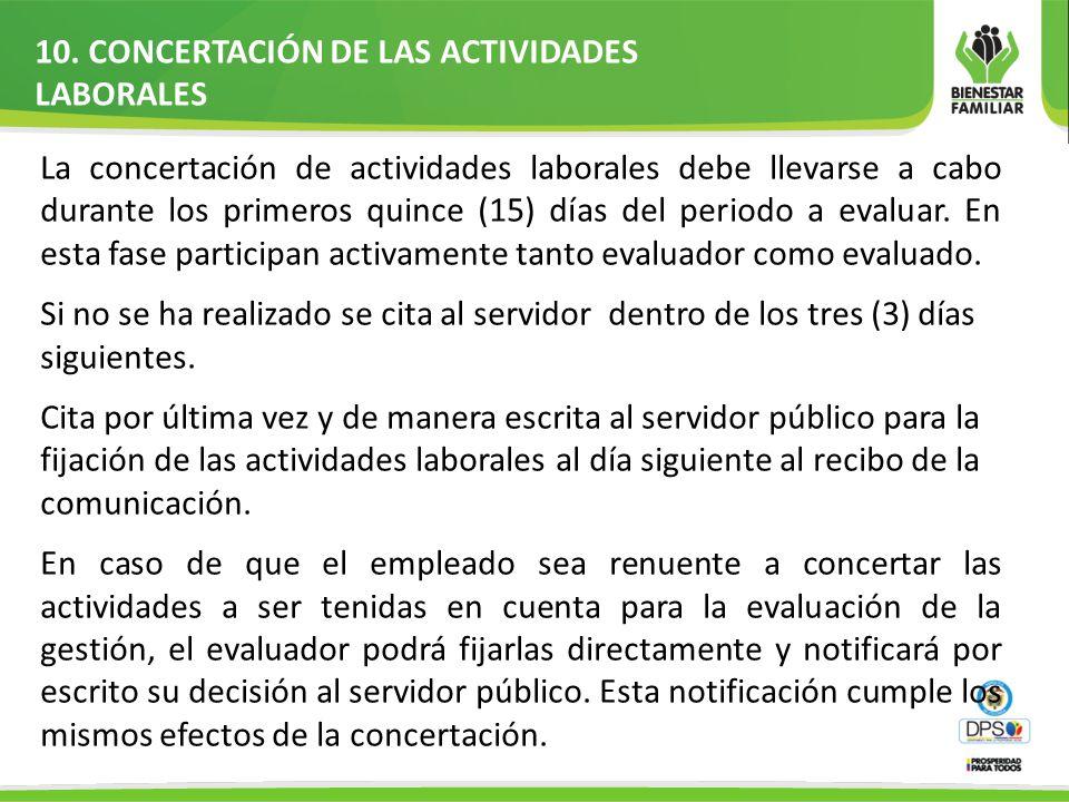 10. CONCERTACIÓN DE LAS ACTIVIDADES LABORALES La concertación de actividades laborales debe llevarse a cabo durante los primeros quince (15) días del