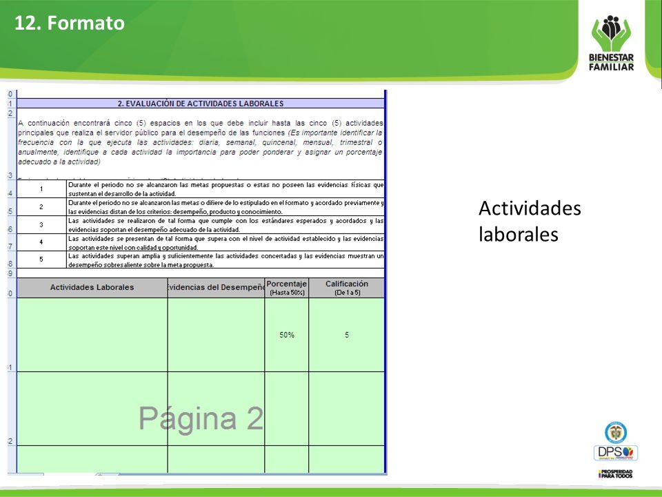 12. Formato Actividades laborales