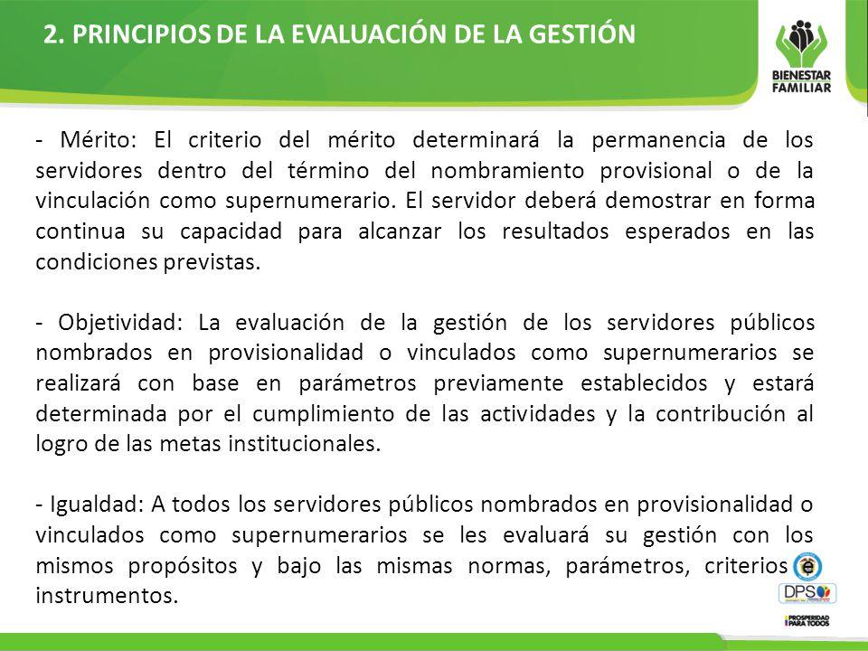 2. PRINCIPIOS DE LA EVALUACIÓN DE LA GESTIÓN - Mérito: El criterio del mérito determinará la permanencia de los servidores dentro del término del nomb