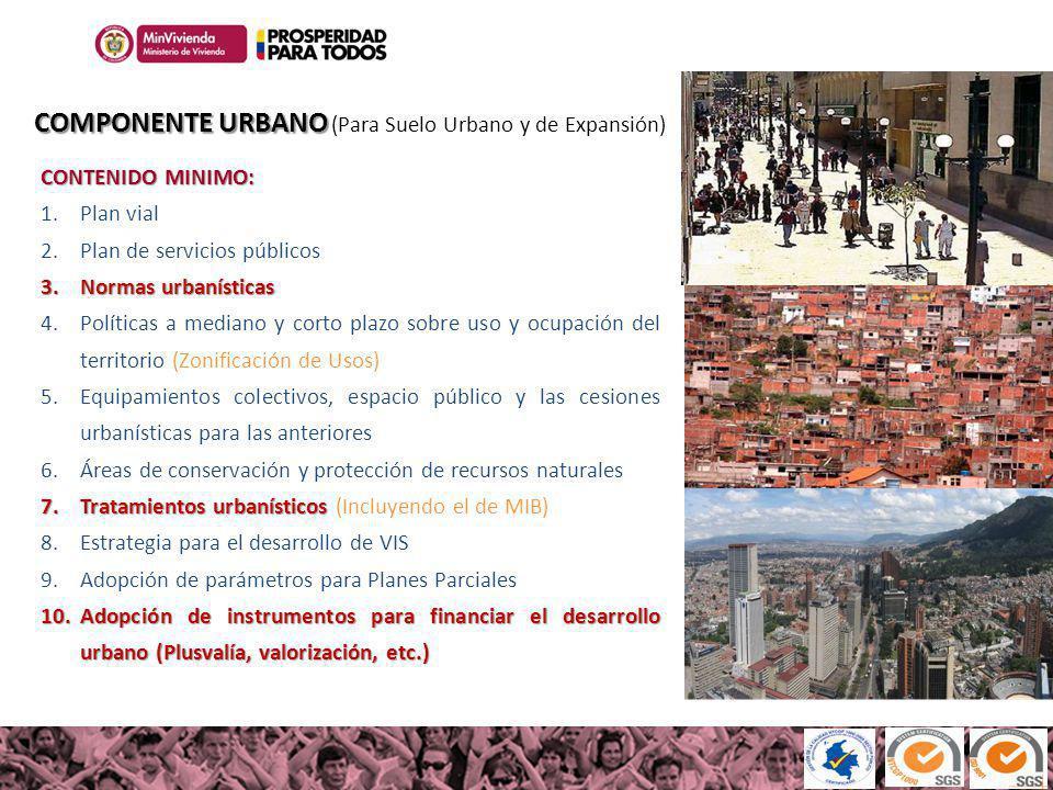 100MILviviendas100MILviviendas Haciendo casas, cambiamos vidas COMPONENTE URBANO COMPONENTE URBANO (Para Suelo Urbano y de Expansión) CONTENIDO MINIMO