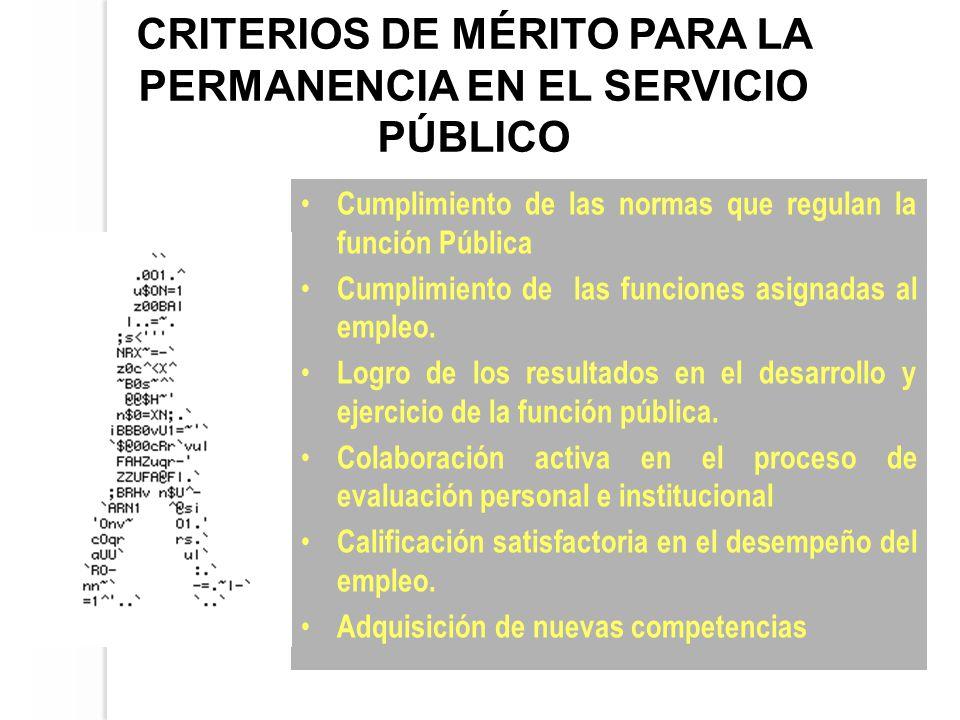 CRITERIOS DE MÉRITO PARA LA PERMANENCIA EN EL SERVICIO PÚBLICO Cumplimiento de las normas que regulan la función Pública Cumplimiento de las funciones