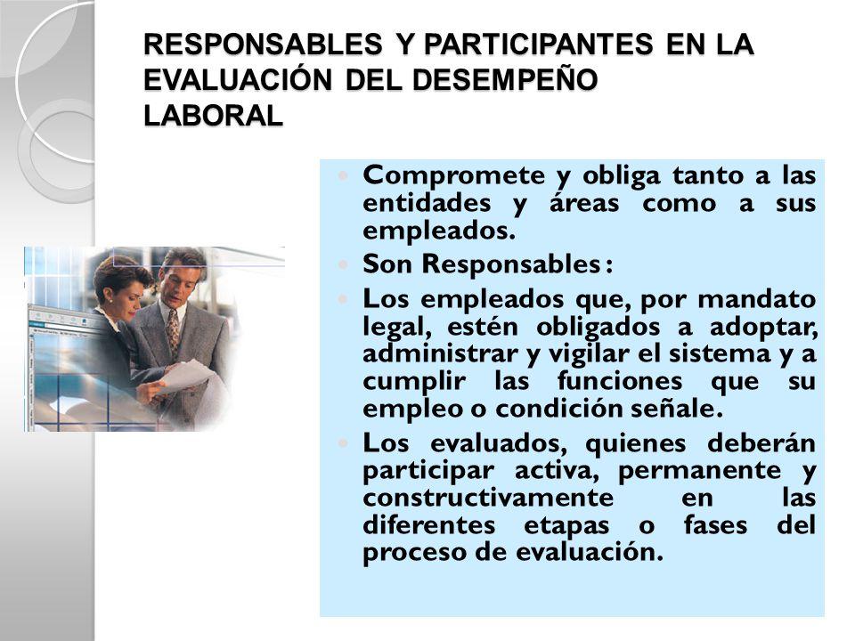 RESPONSABLES Y PARTICIPANTES EN LA EVALUACIÓN DEL DESEMPEÑO LABORAL Compromete y obliga tanto a las entidades y áreas como a sus empleados. Son Respon