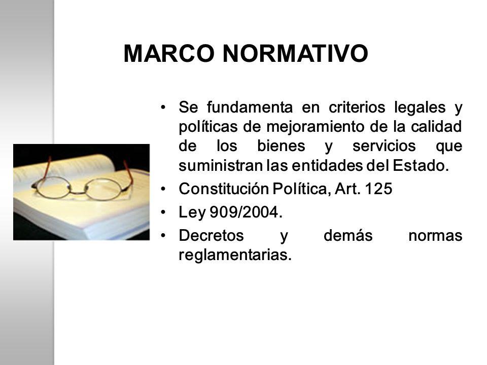 MARCO NORMATIVO Se fundamenta en criterios legales y políticas de mejoramiento de la calidad de los bienes y servicios que suministran las entidades d