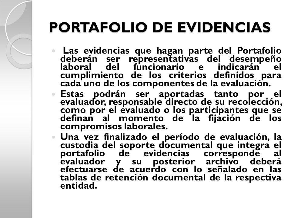 PORTAFOLIO DE EVIDENCIAS Las evidencias que hagan parte del Portafolio deberán ser representativas del desempeño laboral del funcionario e indicarán e