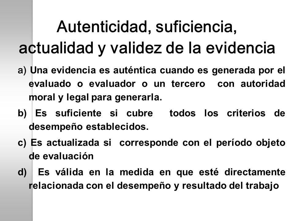 Autenticidad, suficiencia, actualidad y validez de la evidencia a) Una evidencia es auténtica cuando es generada por el evaluado o evaluador o un terc