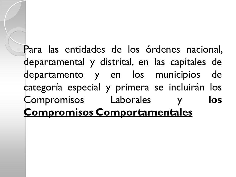Para las entidades de los órdenes nacional, departamental y distrital, en las capitales de departamento y en los municipios de categoría especial y pr