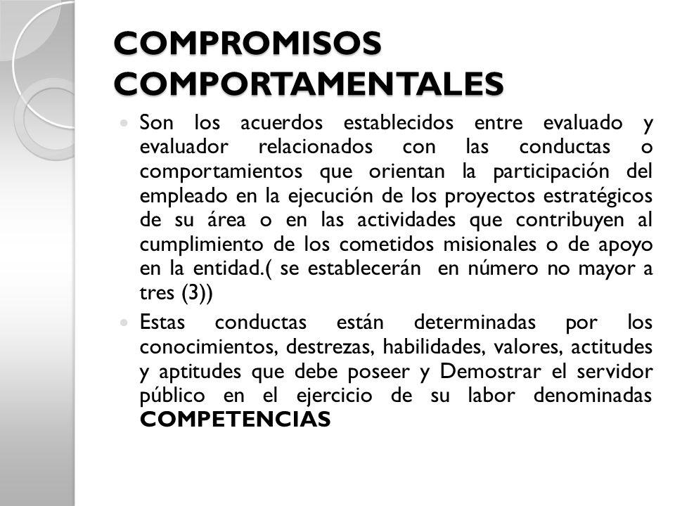 COMPROMISOS COMPORTAMENTALES Son los acuerdos establecidos entre evaluado y evaluador relacionados con las conductas o comportamientos que orientan la