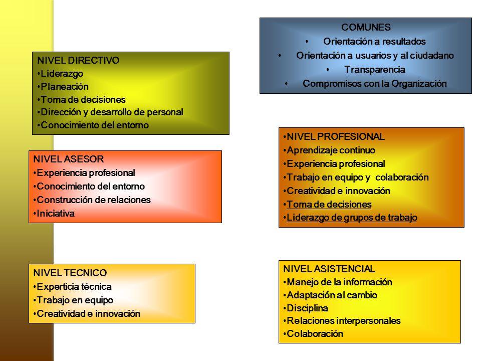 COMUNES Orientación a resultados Orientación a usuarios y al ciudadano Transparencia Compromisos con la Organización NIVEL DIRECTIVO Liderazgo Planeac