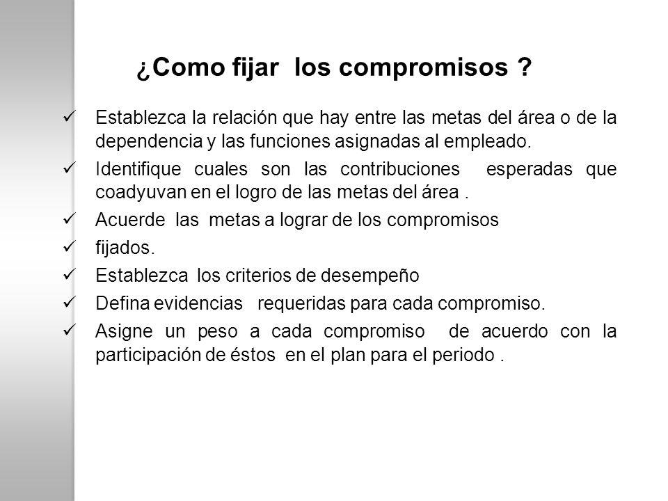 ¿ Como fijar los compromisos ? Establezca la relación que hay entre las metas del área o de la dependencia y las funciones asignadas al empleado. Iden