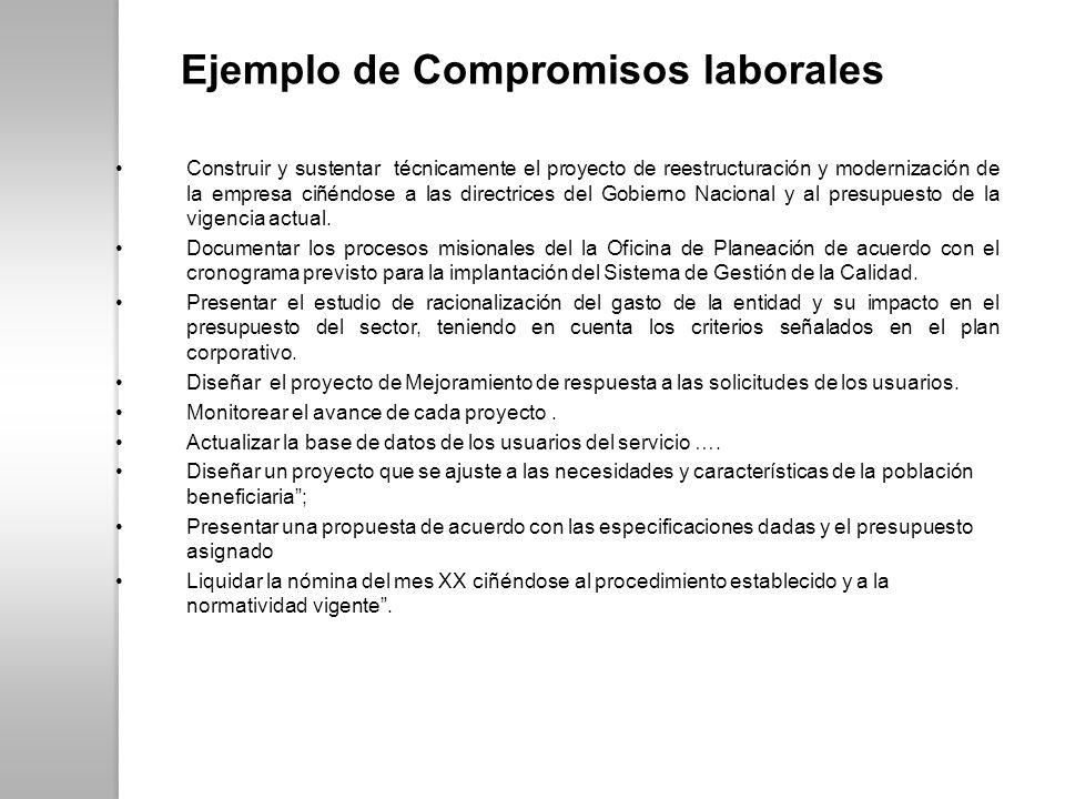 Ejemplo de Compromisos laborales Construir y sustentar técnicamente el proyecto de reestructuración y modernización de la empresa ciñéndose a las dire