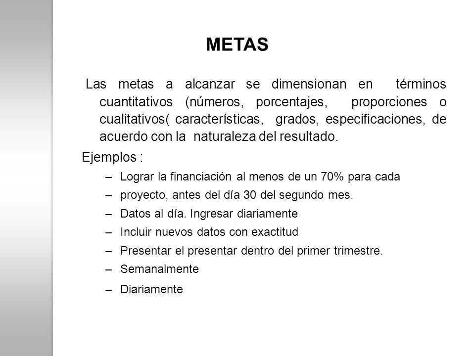 METAS Las metas a alcanzar se dimensionan en términos cuantitativos (números, porcentajes, proporciones o cualitativos( características, grados, espec