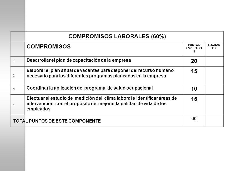 COMPROMISOS LABORALES (60%) COMPROMISOS PUNTOS ESPERADO S LOGRAD OS 1 Desarrollar el plan de capacitación de la empresa 20 2 Elaborar el plan anual de