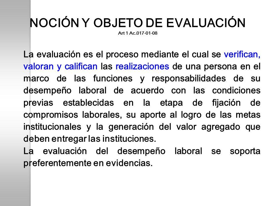 NOCIÓN Y OBJETO DE EVALUACIÓN Art 1 Ac.017-01-08 La evaluación es el proceso mediante el cual se verifican, valoran y califican las realizaciones de u