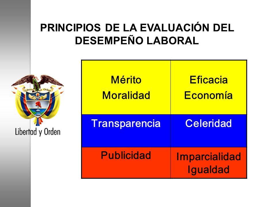 PRINCIPIOS DE LA EVALUACIÓN DEL DESEMPEÑO LABORAL Mérito Moralidad Eficacia Economía TransparenciaCeleridad Publicidad Imparcialidad Igualdad