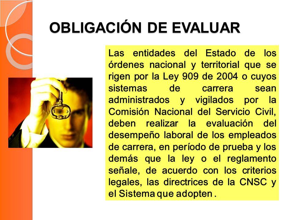 OBLIGACIÓN DE EVALUAR Las entidades del Estado de los órdenes nacional y territorial que se rigen por la Ley 909 de 2004 o cuyos sistemas de carrera s