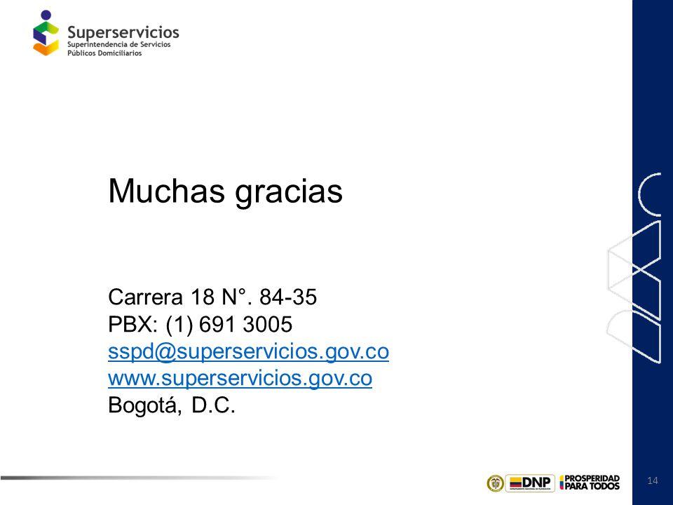 14 Carrera 18 N°. 84-35 PBX: (1) 691 3005 sspd@superservicios.gov.co www.superservicios.gov.co Bogotá, D.C. Muchas gracias
