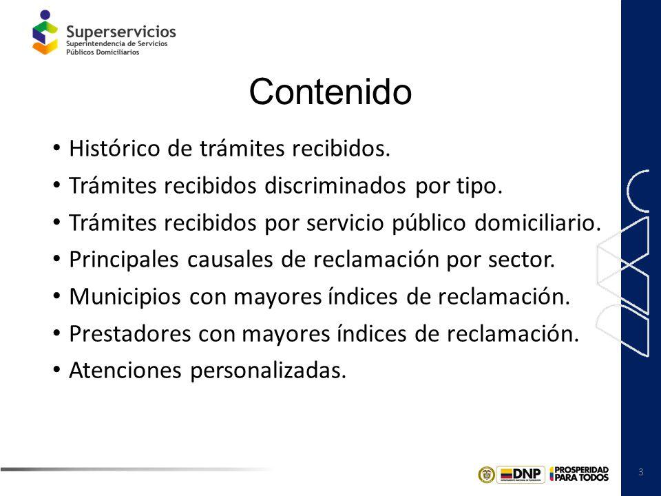 4 Histórico de trámites recibidos Fuente: Cuadros de reclamos, Dirección General Territorial