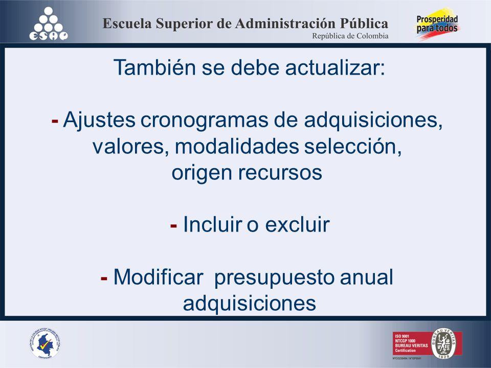 * No obliga a las entidades estatales a efectuar los procesos de adquisiciones * Debe publicarse en SECOP y pagina web de la entidad a más tardar 31 E