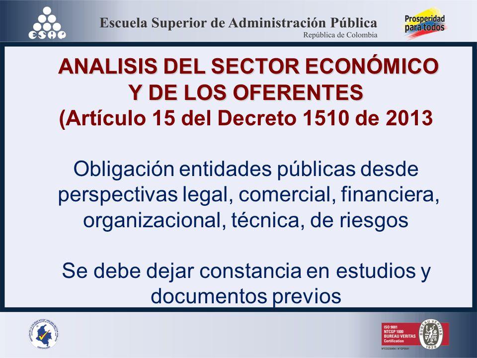 ANALISIS DEL SECTOR ECONÓMICO Y DE LOS OFERENTES
