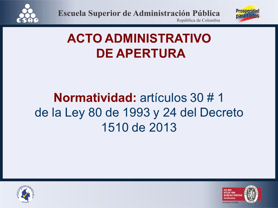 ACTO ADMINISTRATIVO DE APERTURA LICITACION